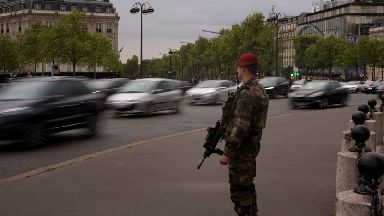 File photo of a soldier on the Champs-Elysees