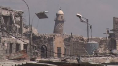 The Grand al-Nuri Mosque, including the minaret that had flown the IS black flag, was reduced to rubble.