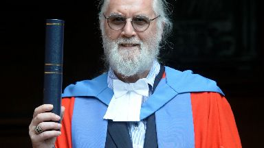 Glaswegian Billy Connolly outside Barony Hall receiving an honorary degree from the University of Strathclyde. June 22, 2017.