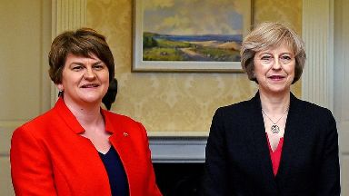 Arlene Foster and Theresa May, seen last year, are expected to conclude power talks soon.