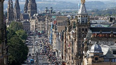 General view of Princes Street in Edinburgh city centre Scotland.