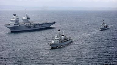 HMS Queen Elizabeth with HMS Sutherland and HMS Iron Duke undergoing sea trials