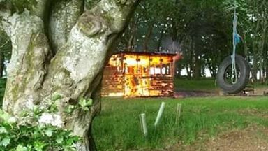 Scout hut destroyed in fire at Daviot, Aberdeenshire, on 02/07/17