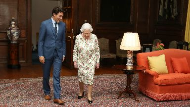 Canada PM Justin Trudeau meets the Queen. July 5 2017