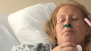 E.Coli teacher Caroline Hope in Turkish hospital. Pic from justgiving page. July 6 2017.