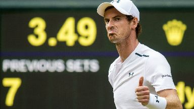 Andy Murray in action at Wimbledon 2017