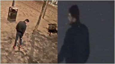 Royal Exchange Square: The man was seen after the attack in Glasgow.
