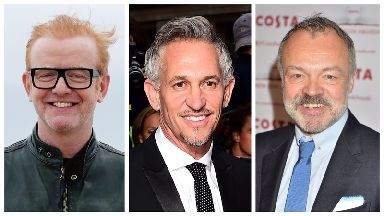 From left to right: Chris Evans, Gary Lineker and Graham Norton.