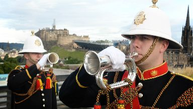 Buglers from the Massed Bands of Her Majesty's Royal Marines signal the launch of The Royal Edinburgh Military Tattoo 2017