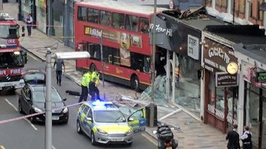 The bus crashed into a shop near Clapham Junction.