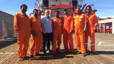 Crew of Malaviya Seven, stranded in Aberdeen since October 2016, pictured in August 2017