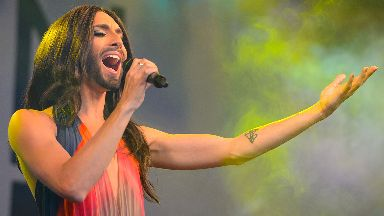 Eurovision winner Conchita Wurst performs during Pride in London, in Trafalgar Square in central London.