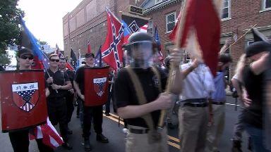 Far-right supporters gather in Charlottesville, Virginia.