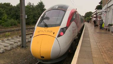 Virgin Azuma train makes first visit north of the border in Dunbar August 16 2017