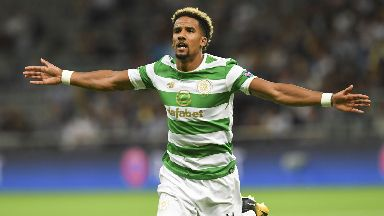 Job done: Sinclair scored as Celtic reached the group stage.