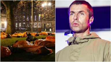 Collage of Liam Gallagher and Social Bite sleep-out.