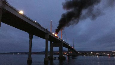 Lorry on fire on the Kessock Bridge. September 18 2017.