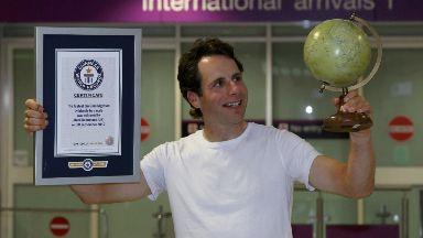 Mark Beaumont at Edinburgh Airport after circumnavigating globe. September 2017.