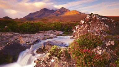 Early morning sun on the Cuillin's by Sean Speed for Scotland from the roadside