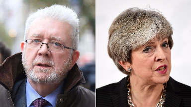 Composite of Michael Russell and Theresa May.