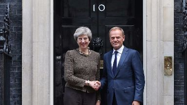 Theresa May hosted Donald Tusk for bilateral talks at Downing Street.