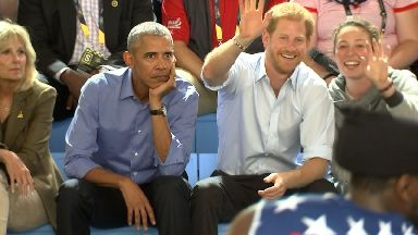 Invictus Games: Barack Obama watches Wheelchair Basketball with Prince Harry