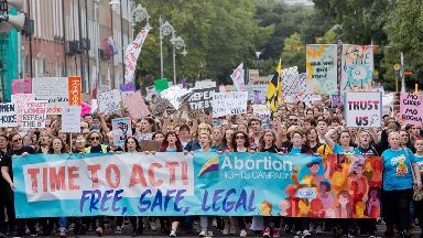 Demonstrators at The March for Choice in Dublin