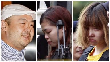 Doan Thi Huong (right) and Siti Aisyah (centre) are accused of murdering Kim Jong-nam.