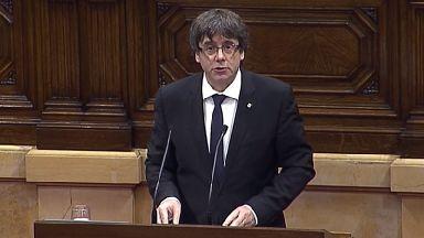Catalan President Carles Puigdemont addresses the region's parliament.