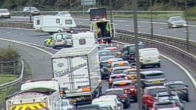 M8: Huge delays caused. Caravan Edinburgh