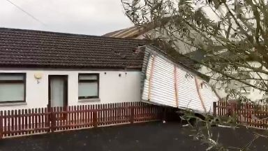 Scout hut in Castle Douglas with roof blown off during Ophelia