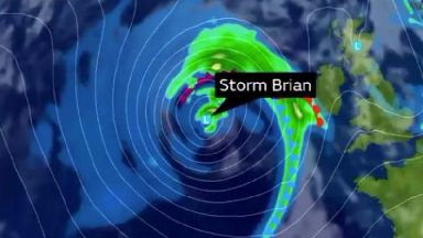 Storm Brian is due to arrive on UK shores from 4am on Saturday.