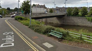 Bridge at Mart Street in Hawick, where a stone was thrown and injured a 14yo girl.
