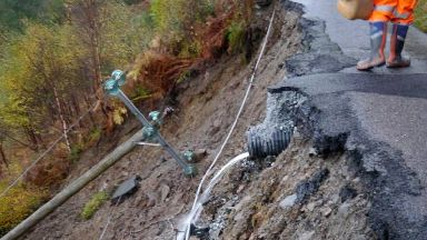 Road collapse in Knoydart peninsula between Scottas and Airor