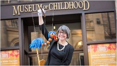 Museum of childhood curator Lyn Wall with Emu