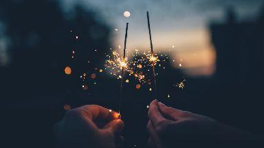 Sparklers on Bonfire Night on November fifth