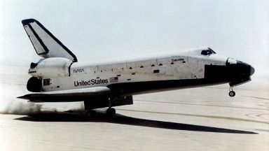 Undated handout photo from NASA of the Space Shuttle Columbia landing at Edwards Air Force Base in California