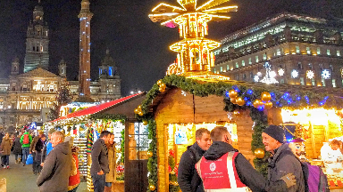 Christmas market in George Square, Glasgow, 2016.