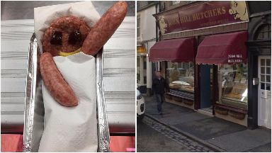 Sausage tribute to Andy Murray's new daughter, from John Hill butchers in Dunblane.