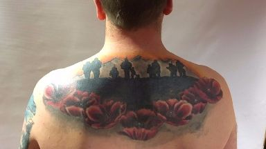 Mr French says his tattoo is a reminder his comrades always have his back.