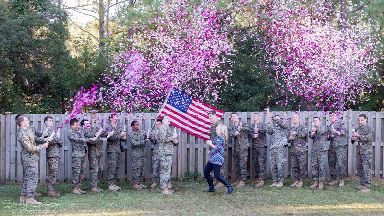 Cassie Lohrey gathered servicemen who knew her husband for the reveal.
