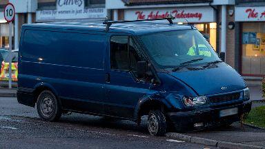 Van crashed in Portlethen, Aberdeenshire, after alleged police pursuit on 14/11/17