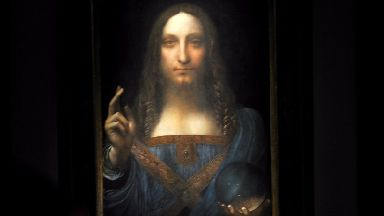 Leonardo da Vinci's Salvator Mundi painting is on display at a press preview at Christie's in New York City.