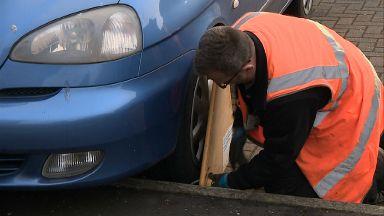 Road tax clamping crackdown in Edinburgh. November 2017