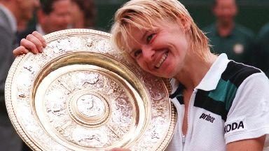 Jana Novotna after winning the Ladies Final match at Wimbledon in 1998.
