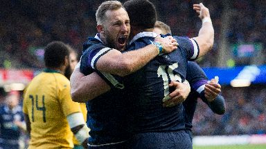 Scotland v Australia 25/11/17 Byron McGuigan (left) celebrates a try with Sean Maitland