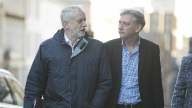 Labour Party leader Jeremy Corbyn (left) meeting newly elected Scottish Labour leader Richard Leonard ahead of the party's National Executive Committee (NEC) meeting in Glasgow.