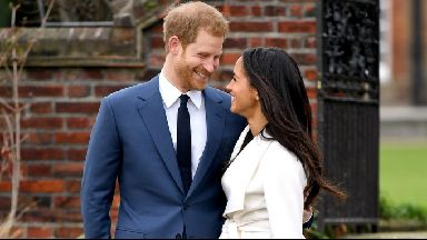 Prince Harry and Meghan Markle in their first public appearance after their engagement was announced.