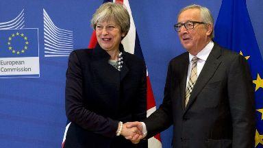 Theresa May is meeting EU leaders in Brussels.