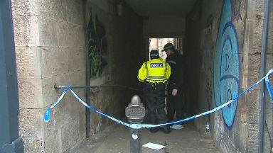 Police at scene of rape in Fleshmarket Close, Edinburgh, off Royal Mile. December 6 2017